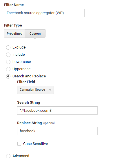 Use the Search and Replace filter with the Source filter and the search string ^.*facebook\.com$ and the replace string of facebook.