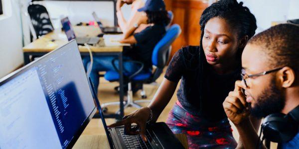 black students at computer