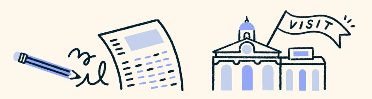 """A black and white illustration against a cream background. On the left is a scantron test with a pencil. On the right is a school with a flag that says """"visit"""""""