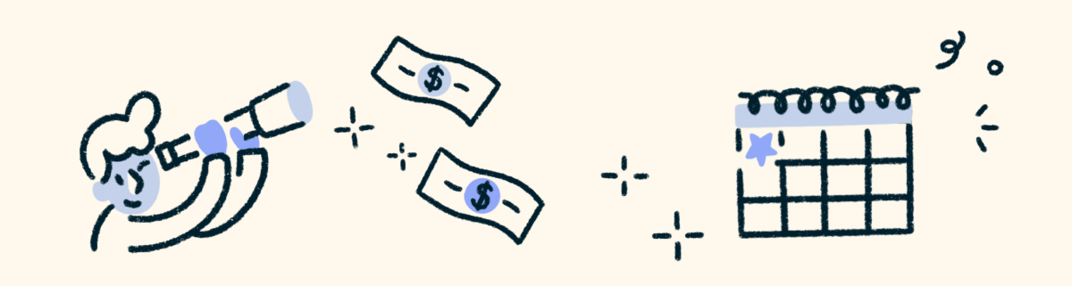 A blue and white illustration on a cream background. On the left is a boy looking through a telescope. In the middle are dollar bills. On the right is a calendar.